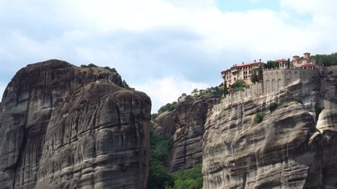 Sunny summer day on top of huge stone rock Pindus mountain range in Grand Meteoron monastery in Meteora Thessaly Greece
