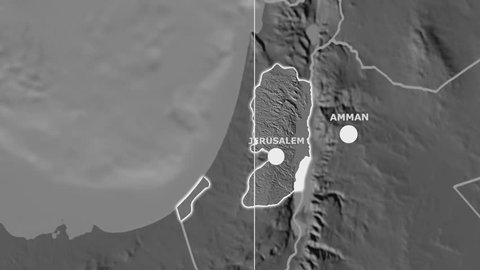 Zoom-in on Palestine outlined on the globe. Capital, administrative borders and graticule. Elevation & bathymetry - grayscale contrasted