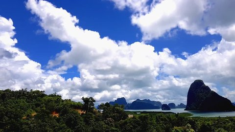 time lapse Samed Nang Chee Is Amazing View Point In Phang Nga Province, Thailand