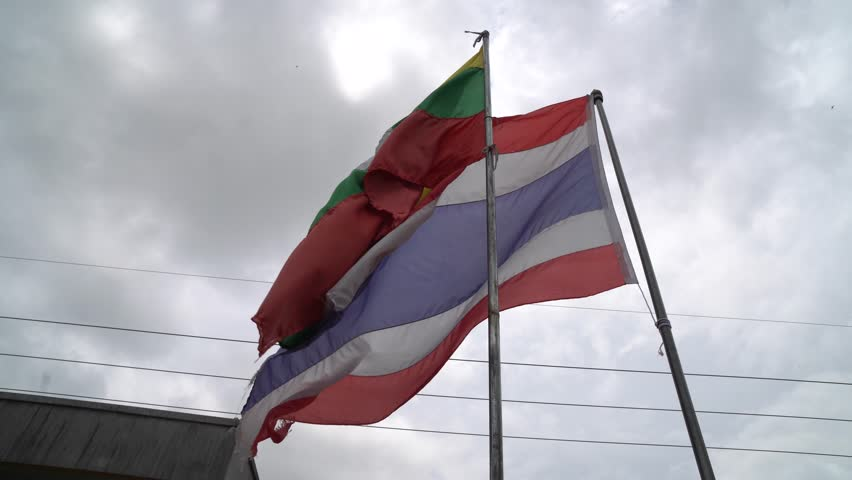 "Flag Thailand and Myanmar at Border checkpoint immigration Tachilek province, Myanmar Travel from ""Mae Sai"" city of Thailand"