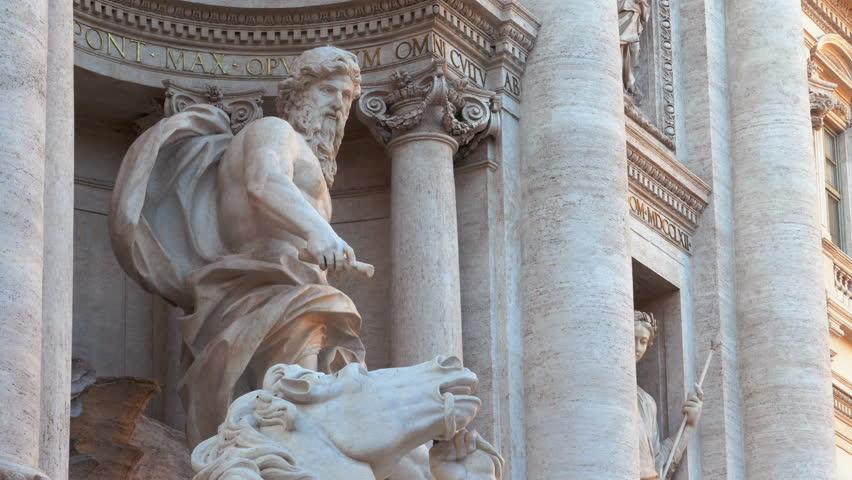 Close-up of the Fontana di Trevi in Rome