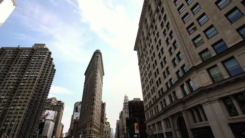 NEW YORK CITY, USA - SEPT 22, 2018: Aerial drone view of iconic Flatiron Building at Madison Square Park in New York City Manhattan NYC. NYC is a popular tourist travel destination.