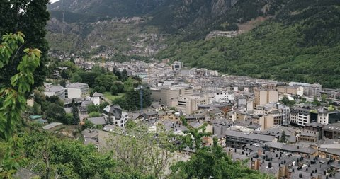 Andorra, Principality Of The Valleys Of Andorra. Top Panoramic View Of Cityscape In Summer Season. City In Pyrenees Mountains