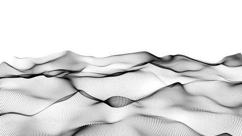 Abstract black wavy lines. Digital data and network connection dots in technology concept on white background, abstract illustration