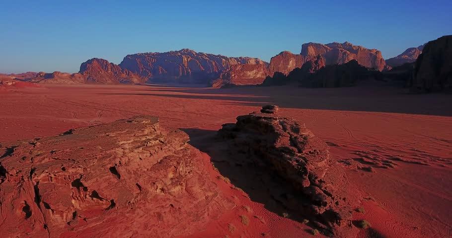 Aerial drone in Middle East Southern Jordan Wadi Rum Desert