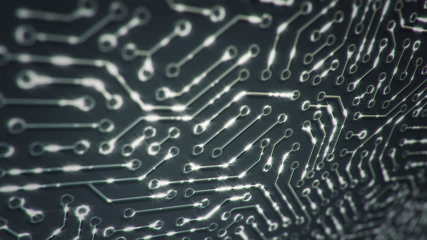 Technological background with moving glittering circuit. Animation of seamless loop. | Shutterstock HD Video #1017450643