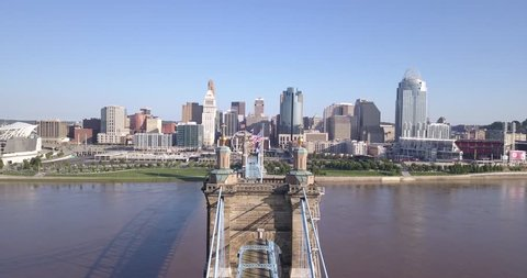 Suspension Bridge and Downtown Cincinnati - Climbing Vertical View