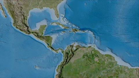 Caribbean tectonic plate shape animated on the satellite B map in the van der Grinten projection with oblique transformation. Stroke first. Peter Bird's division