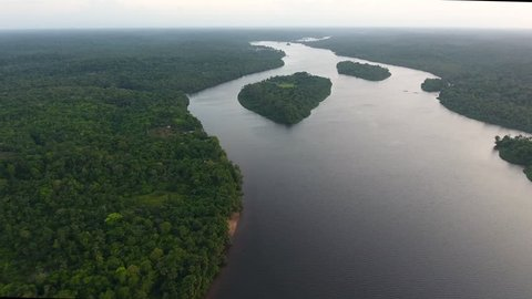 Oiapoque River border between French Guiana and the Brazilian state of Amapá. Drone view