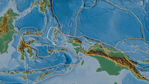 Birds Head tectonic plate shape animated on the relief map in the van der Grinten I. Borders first. Plates shapes in accordance with Peter Bird's division