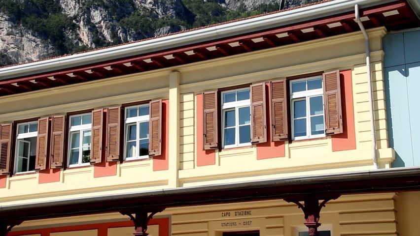 Close up of old train or railway station (Mori–Arco–Riva) of Riva del Garda, Italy. | Shutterstock HD Video #1017524443