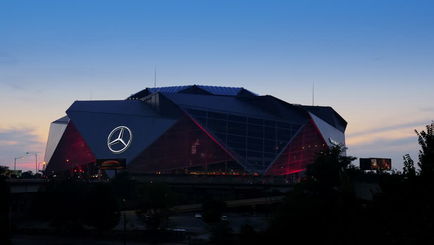 ATLANTA, GA - September 29, 2018: Mercedes-Benz Stadium on September 29, 2018 in Atlanta. Mercedes-Benz Stadium is the home of the Atlanta Falcons NFL team and holds the record for the world's larges