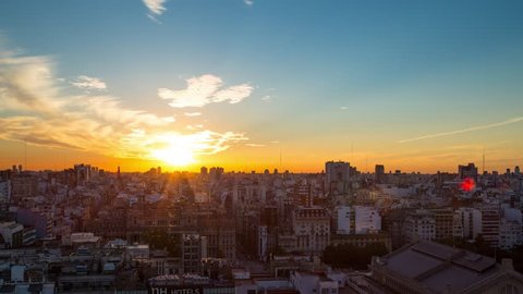 Buenos Aires, Argentina - April 2, 2018: Day to night sunset time lapse over the downtown of Buenos Aires