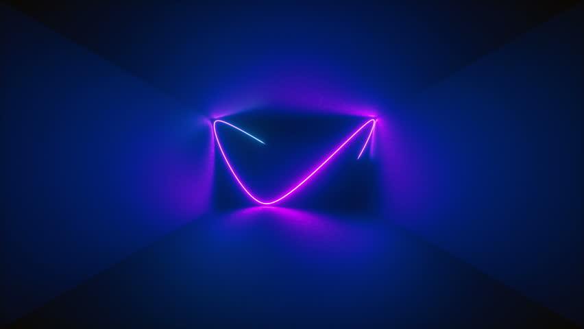 3d render, abstract background, neon rays inside dark box, tunnel, corridor, glowing lines, fluorescent ultraviolet light, blue red pink purple spectrum #1017669283