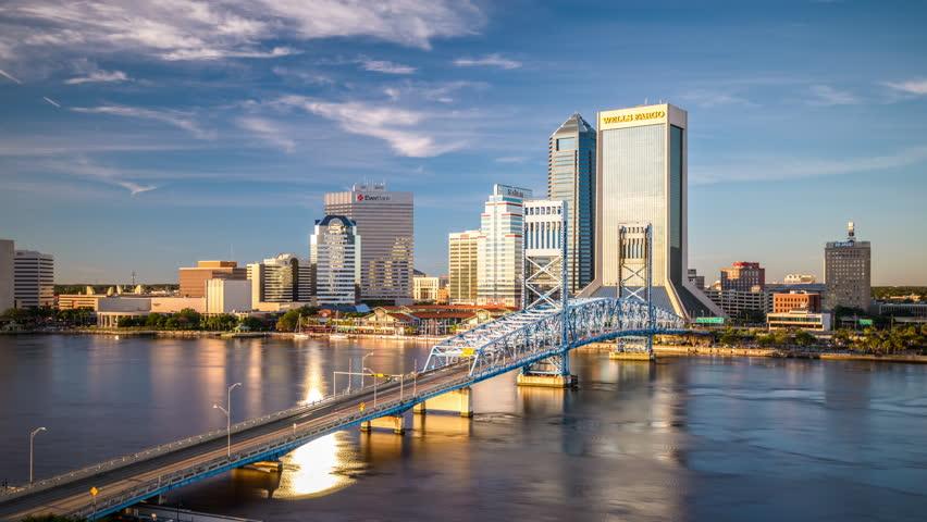 Jacksonville, Florida, USA Downtown City Skyline Time