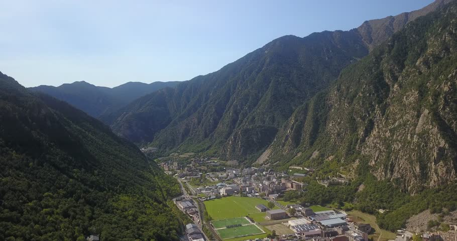 Andorra La Vella in the autonomous principality of Andorra in the Pyrenees, between France and Spain. Aerial images