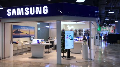 BANGKOK - DEC 2017: Samsung store in the Pantip Plaza mall. Since 1990 Samsung has increasingly globalized its activities and electronics. As of 2017, Samsung has the 6th highest global brand value.