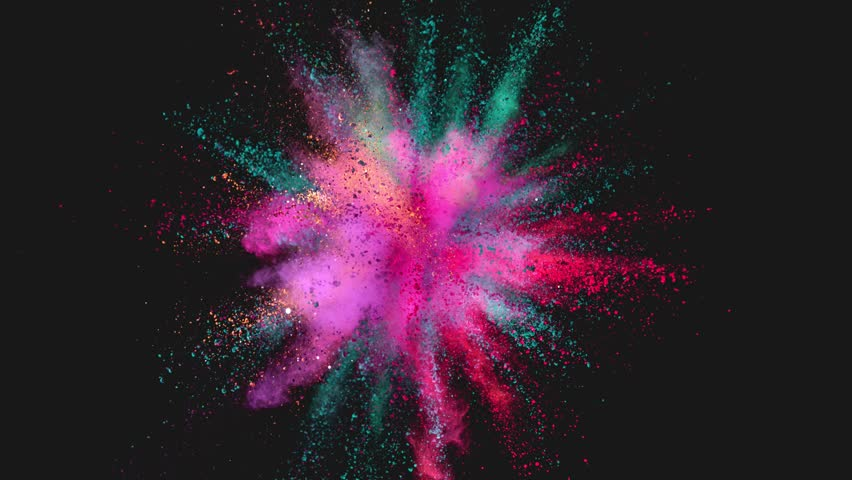 Ultra slowmotion shot of color powder explosion isolated on black background. Shot with high speed cinema camera at 1000fps #1017852463