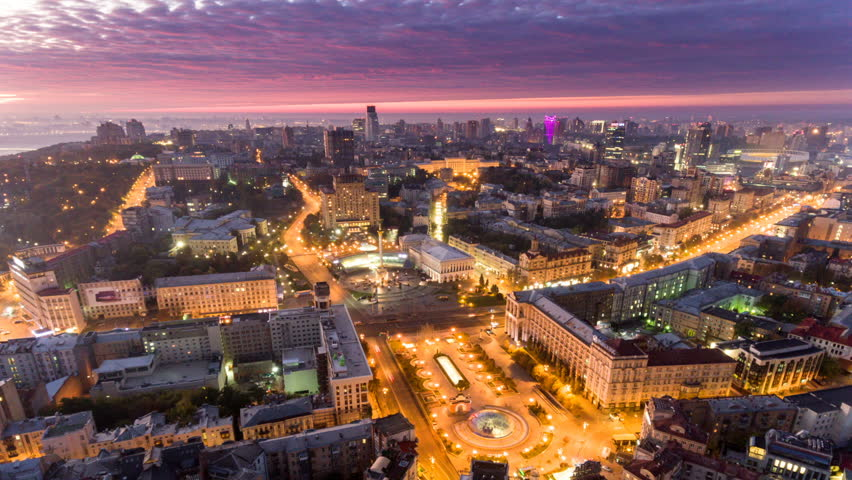 Independence Square. Ukraine. Aerial view of the Independence Monument. Revolution of pride. Orange Revolution. City center. Kyiv. | Shutterstock HD Video #1017891253