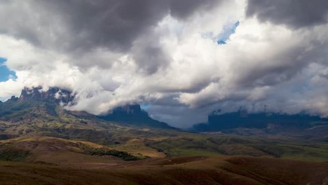 Incredible beauitful timelapse of Mount Roraima as clouds form and pass around the mountains
