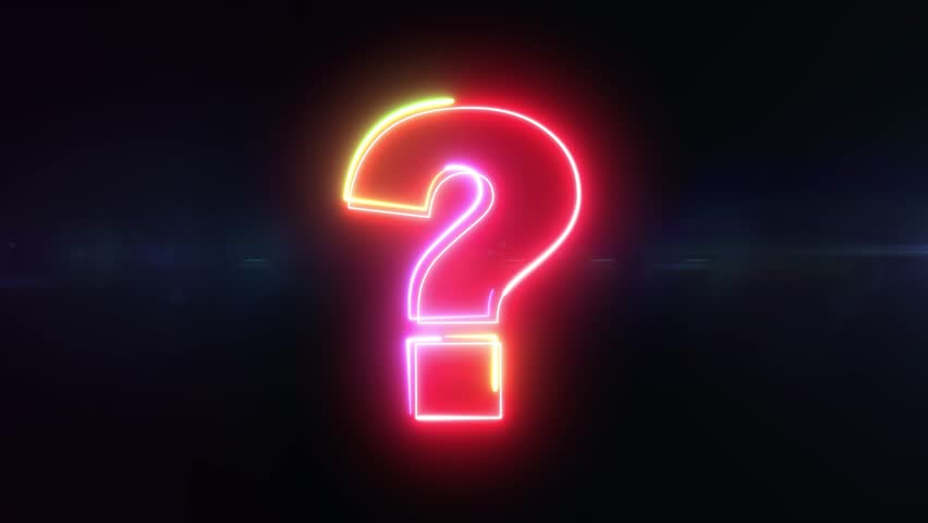 Question mark - shaking outline looping on black background in 4k animation