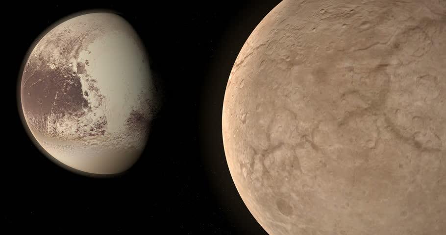 Charon or Pluto I, natural satellite, orbiting around of dwarf planet Pluto