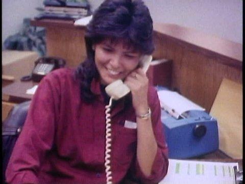 FAIRBANKS, ALASKA, 1989, Native corporation, Douyon Ltd, offices, woman phone