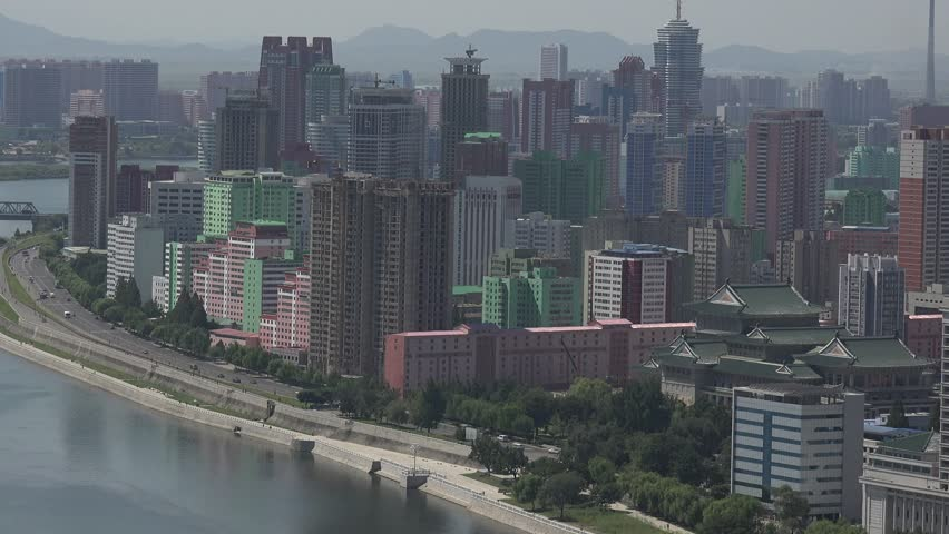North Korea capital city Pyongyang skyline, Panorama as seen from the Juche Tower in September 2018  | Shutterstock HD Video #1018043863