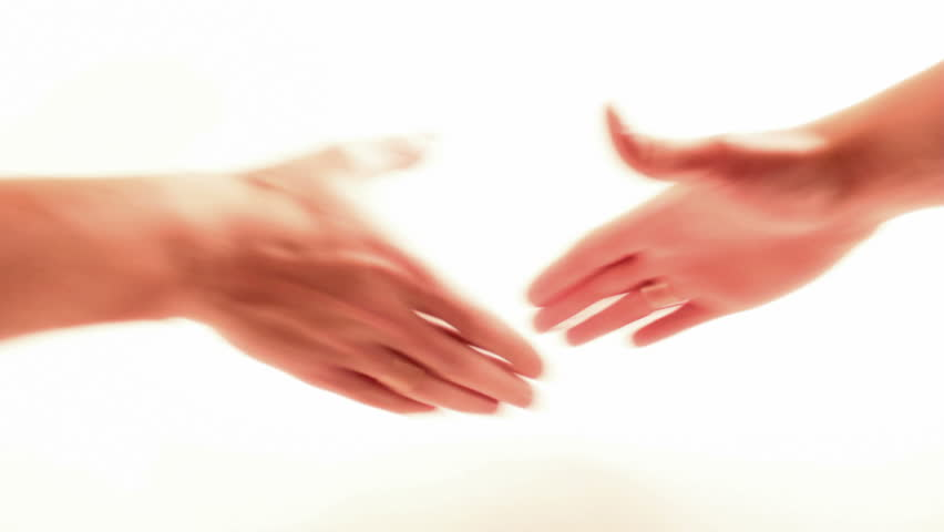 Shaking hands on white background