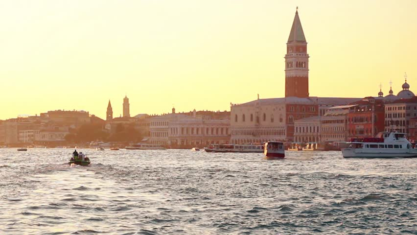 Boats and pleasure boats sail along the Grand Canal in Venice, Italy | Shutterstock HD Video #1018190863