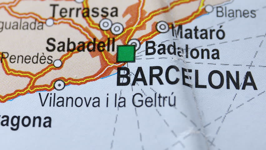 City Barcelona on the map, angle changing from non-focus to focus and back | Shutterstock HD Video #1018193623
