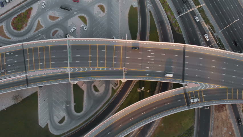 View from the drone on traffic in the Emirates | Shutterstock HD Video #1018193983