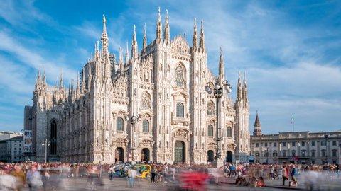 Milan city skyline sunset timelapse at Milano Duomo Cathedral, Milan, Italy Timelapse Hyperlapse of Milan Italy Cathedral on the Piazza del Duomo. Milano duomo.