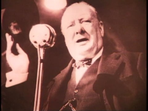 LONDON, ENGLAND, 1940, Churchill, still, before a microphone, black and white