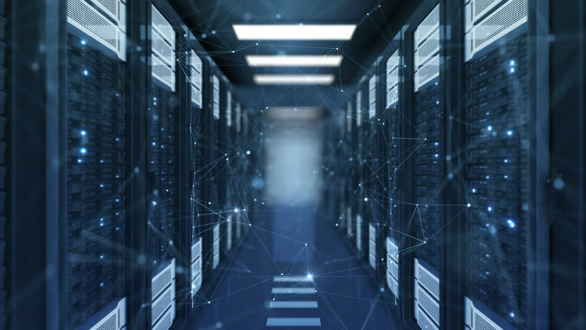 Moving Through Beautiful New Growing Network Grid with Flashing Lights in Abstract Data Center Server Racks Room. Looped 3d Animation. Futuristic Digital Technology Concept. 4k UHD 3840x2160. | Shutterstock HD Video #1018371913