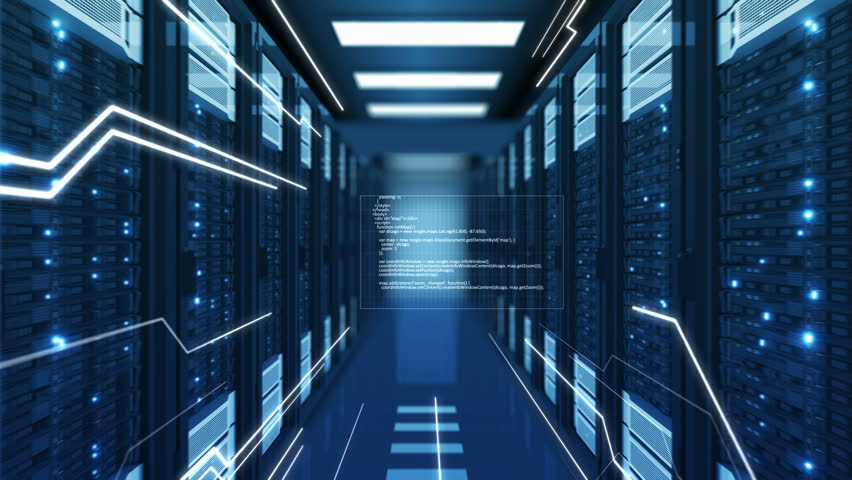 Flying Through Abstract Blue Data Center Server Racks with Stream Lines and Digital Text Appearing. Looped 3d Animation. Futuristic Business and Digital Technology Concept. 4k UHD 3840x2160. | Shutterstock HD Video #1018371943