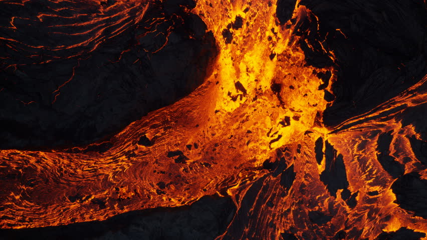 Aerial view of powerful active volcano a river of natural explosive erupting red hot active magma from within earths crust Kilauea Hawaii USA RED WEAPON | Shutterstock HD Video #1018425043