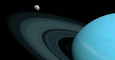Satellite Miranda orbiting around Uranus planet in the outer space