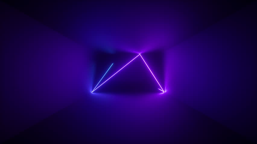 3d render, abstract background, neon rays inside dark box, tunnel, corridor, glowing lines, fluorescent ultraviolet light, blue red pink purple spectrum, stroboscope, looped, seamless animation | Shutterstock HD Video #1018575853