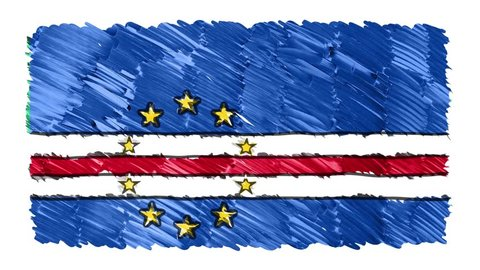 stop motion marker drawn CAPE VERDE flag cartoon animation background new quality national patriotic colorful symbol video footage