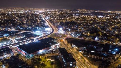 Aerial hyperlapse of evening in Miraflores,  Lima. Shot in Raw