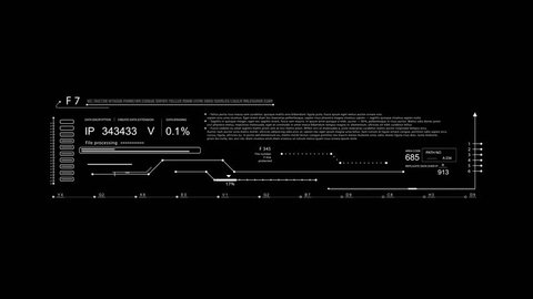 HUD elements in and out within 5 sec.Technological futuristic Sci Fi display with code text.Black and white to use for Alpha channel as template for your video.