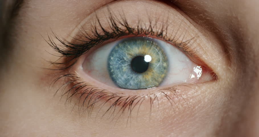 close up beautiful blue eye opening human iris macro natural beauty
