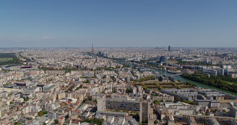 France Paris Aerial Flying above Boulogne-Billancourt and Republique-Point-du-Jour with stadium view 8/18