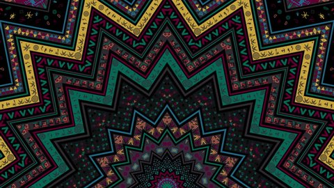 Tribal Kaleidoscope African Pattern for traditional and ethnic films, music video, promo, night club, fashion show, dance decoration, art installation, festival.