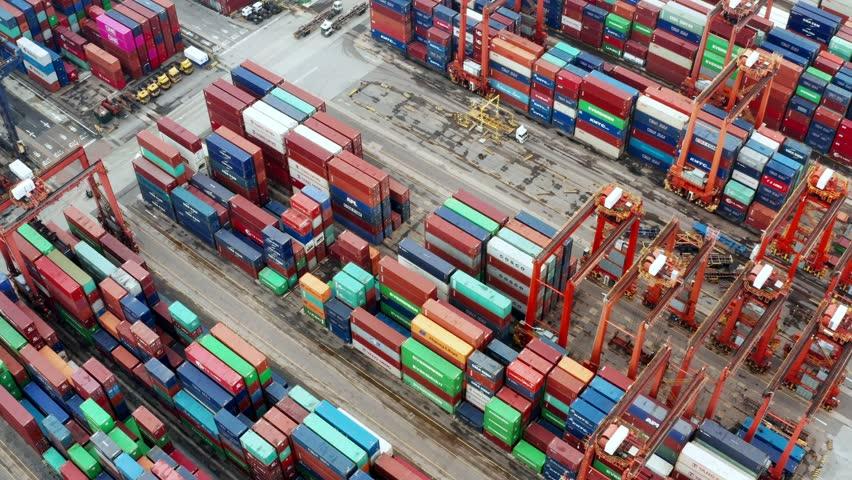 Kwai Tsing , Hong Kong 09 October 2018:- Cargo Container Port in Hong Kong  | Shutterstock HD Video #1018794523