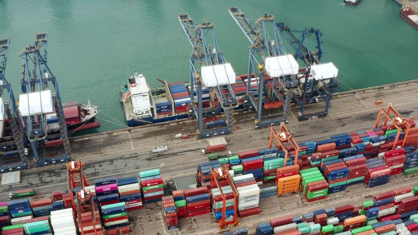 Kwai Tsing , Hong Kong 09 October 2018:- Cargo Container Port in Hong Kong  | Shutterstock HD Video #1018794553