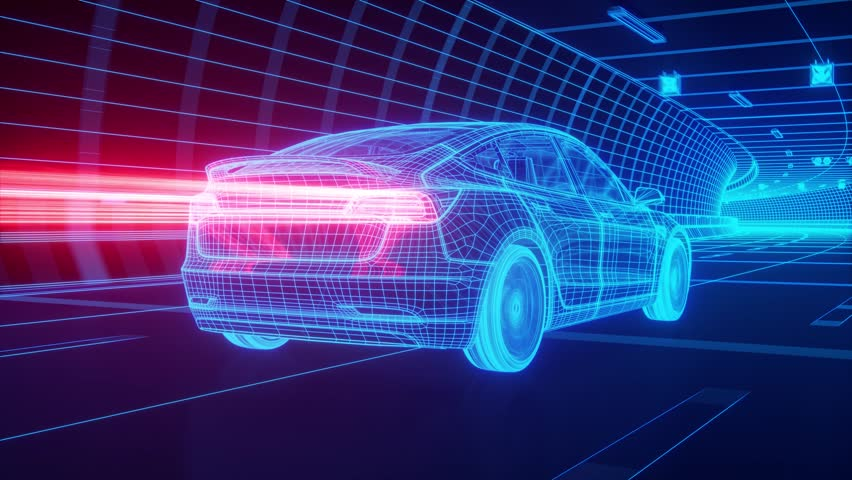 Blue wireframe Modern Electric car rides through Blue tunnel 3d rendering #1018846183