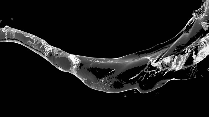 4k slow motion 3d vortex water flow with a splashes isolated on a black background with alpha matte | Shutterstock HD Video #1018864693