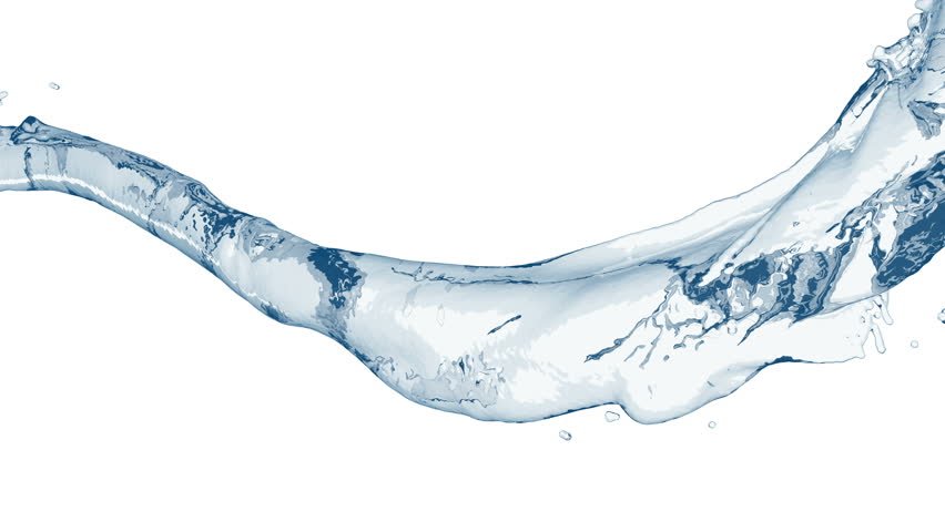 4k slow motion 3d blue vortex water flow with a splashes isolated on a white background with alpha matte | Shutterstock HD Video #1018865353